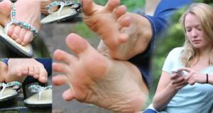 Olga in Flip Flops und barfuss