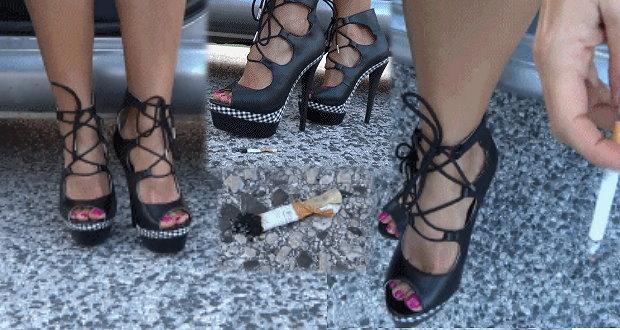 video zigaretten crushing in pinken heels